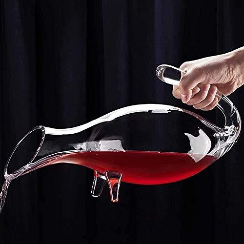 DYB Decantador de whisky Set de cristal de vino tinto Decantador con asas Manos libres de plomo creativo Decantador de vino verter 2L