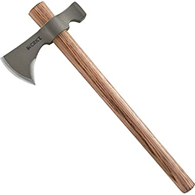 CRKT Woods Chogan Tomahawk Axe: RMJ 2730 T-Hawk Lightweight Outdoor Camping Axe with Hammerhead, Forged Carbon Steel Blade and Hickory Wooden Handle