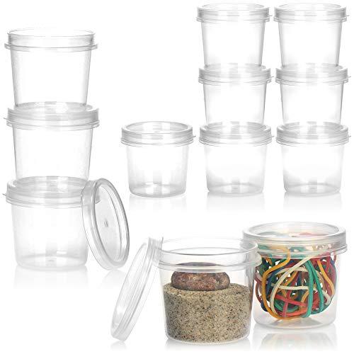 com-four® 12x Aufbewahrungsbehälter mit Deckel - Kunststoff-Dose mit Verschluss - Stapelbarer Becher für Kosmetik und Bastel-Materialien - 35ml (12 Stück)