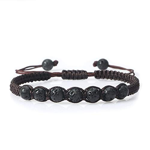 Moda 6MM Piedra Natural Negro Lava Beads Hombres Pulseras Brazaletes Trenzados Charm Pulsera Ajustable Hecho a Mano Homme Jewelry Gift - Coffee Lava, C