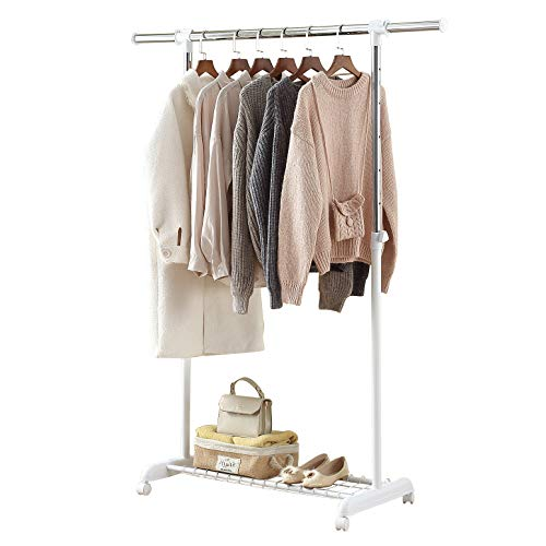 LiaMeE Freestanding Standard Rod Garment Rack for Hanging Clothes with Wheels  Rolling Extendable Clothing Organizer with Shelf and Grid Adjustable Clothes Rail for Closet White and Chrome