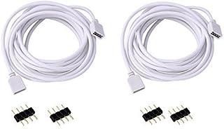 VIPMOON 2 Pack Cable de extensión de 3M 9.9ft Conecte el enchufe hembra a la luz de tira del RGB LED con el conectador libre de 4pcs 4pin