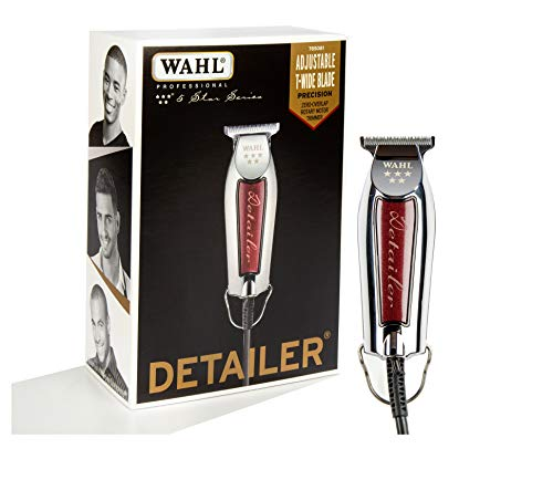 Wahl Professional 5-Star Detailer with Adjustable T Blade for Extremely Close Trimming and Clean and Crisp Lines for Professional Barbers and Stylists - Model 8081, Silver