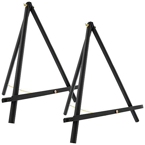 """U.S. Art Supply 20"""" Large Black Wood Display Stand A-Frame Artist Easel (Pack of 2) - Adjustable Wooden Tripod Tabletop Holder Stand for Canvas, Painting Party, Kids Crafts, Photos, Pictures, Signs"""