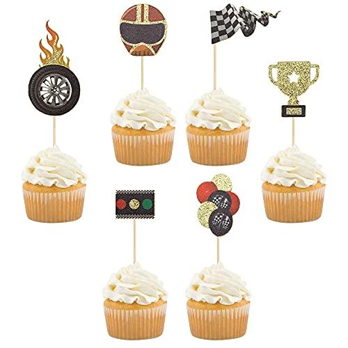 Gyufise 24 Stück Rennauto-Cupcake-Topper für Jungen Geburtstag Rennauto Thema Trophäe Rad Obst Picks Party Dekoration Let 's Go Racing Dessert Topper