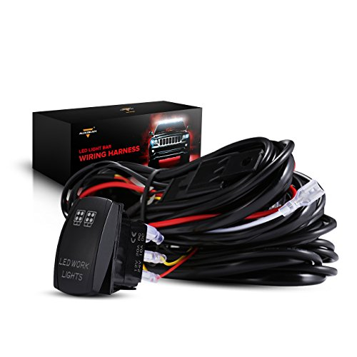 Auxbeam LED Light Bar Wiring Harness with Rocker Switch 3Pcs Switching Lines Power Relay and Fuse (Rear Lights)