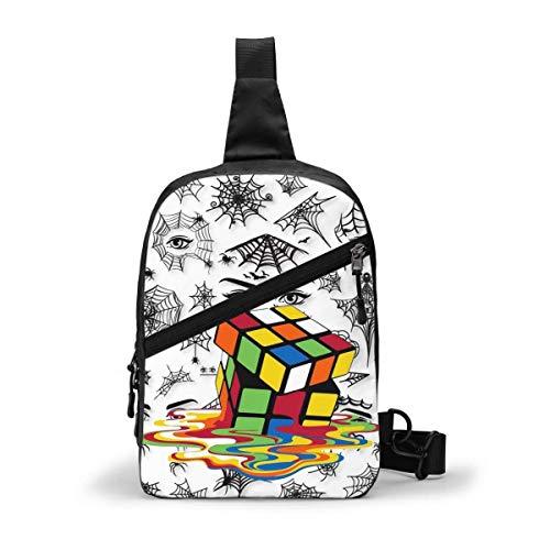 Rubiks Cube Sling Bag,Crossbody hombro pecho al aire libre senderismo viaje bolsa de bolsillo personal para mujeres hombres resistencia al agua
