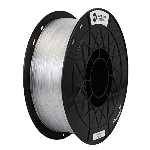 CCTREE 1.75mm PETG 3D Printer Filament 1kg Spool (2.2lbs) for Creality CR-10, Ender 3 Pro,Tevo Anet 3D Printer. Transparent