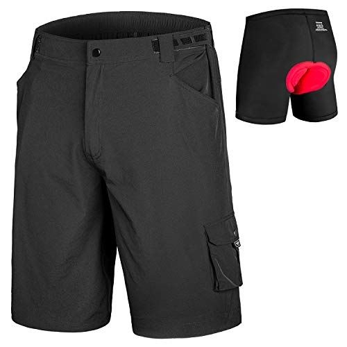 qualidyne Men's Mountain Bike Shorts 3D Padded Lightweight MTB Cycling Shorts with Loose Fit -Quick Dry (Black+ Removable Underwear, Small)