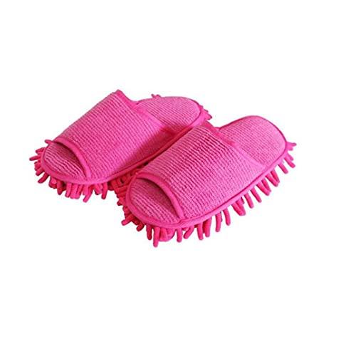 TongICheng 1 par de Microfibra Zapatillas Unisex Casa Quitar el Polvo Lavable Zapatillas Zapatos de los Deslizadores de la fregona del Piso Útiles de Limpieza Rosy Paño de Limpieza