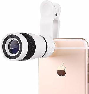 كاميرا عالمية لموبايل ايفون 7 بلس وسامسونج جالاكسي S8 بعدسة تقريب يدوي 8X مثبتة بمشبك على عدسة الكاميرا- لون ابيض