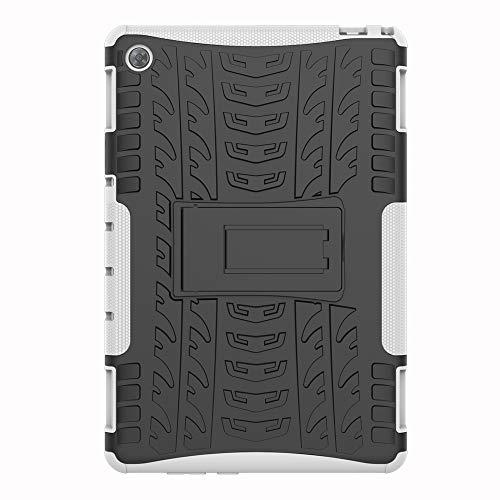 SHIEID Hülle für Huawei MediaPad M5 Lite (10 Inch)-Hülle Tough Hybrid Armor Hülle,Diese Handyhülle Anti-Wrestling Travel Essential Faltbare Halterung für Huawei MediaPad M5 Lite (10 Inch)(Weiß)