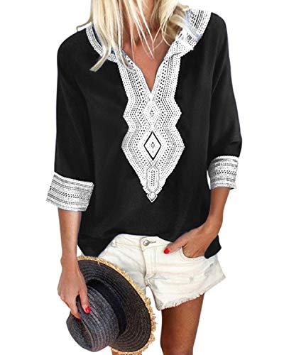 YOINS - Camisa para mujer, estilo étnico, manga larga, cuello en V, camisa vintage, informal, camiseta de rayas Negro  M