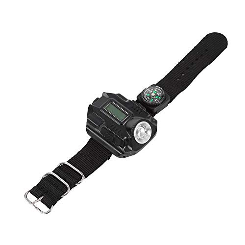 Demeras Reloj de linterna LED de larga duración de alta calidad con linterna LED táctica para senderismo y viajes