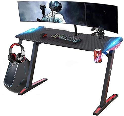 SOUTHERN WOLF E-Sports Desk, Gaming Desk Home Escritorio de computadora de Escritorio Premium para Juegos Profesionales con Luces LED, portavasos, Percha para Auriculares(Negro-desckpad)