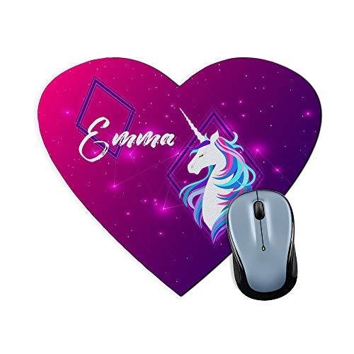 Alfombrilla Raton Unicornio Personalizada con Nombre. Regalos Personalizados para Fans. Varios Modelos. 23,5x19,5 cm. Corazón. Unicorn
