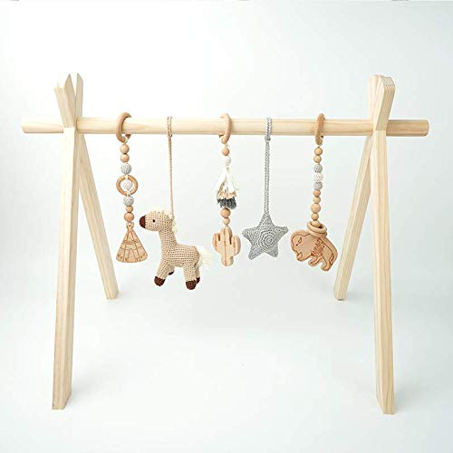 Wooden Play Gym for Baby Infant Activity Set WILD WEST ADVENTURES Cowboy Natural Wooden Montessori Mobile Toys with Wooden Frame Play Gym Activity Set and Handmade Crochet teething toys
