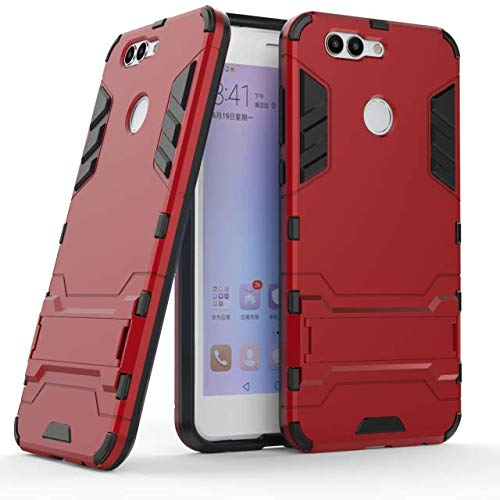 Huawei Nova Plus Hülle, Hülle für Huawei Nova 2 Plus, MHHQ Hybrid 2in1 TPU+PC Schutzhülle Rugged Armor Hülle Cover Dual Layer Bumper Backcover mit Ständer für Huawei Nova 2 Plus -Red