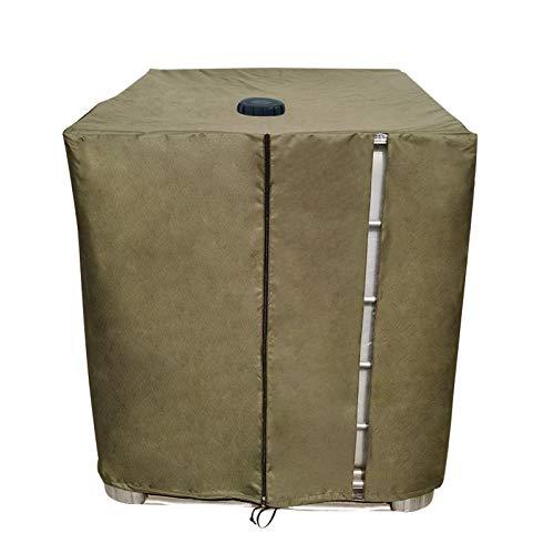 Rubyu-123 IBC Container Cover, Telo protettivo per serbatoio IBC 1000 l, copertura per serbatoio dell'acqua piovana, robusta protezione impermeabile per la montagna, 120 x 100 x 116 cm, verde militare