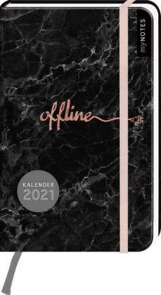 Offline - Kalenderbuch A6 - Kalender 2021 - arsEdition-Verlag - Taschenkalender mit Verschlussgummi und Lesebändchen - Eine Woche auf zwei Seiten - 9,2 cm x 14,7 cm
