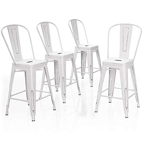 VIPEK 24 Inches Counter Height Bar Stools Commercial Grade Patio Bar Chairs Metal Bar 24' Height Barstool with High Back Side Dining Chairs for Bistro Pub Cafe Kitchen, Set of 4, Distressed White