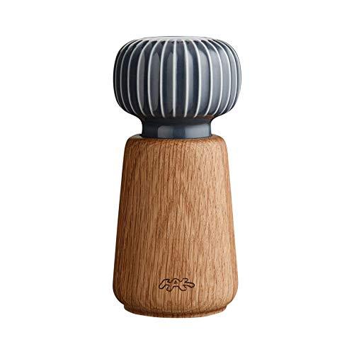 Hak Kähler Hammershoi Salz und Pfeffermühle aus Holz und Porzellan-Kopf, moderne Gewürzmühle 2er Set zum drehen mit Rillen-Design, Anthrazit Grau, 14.5cm