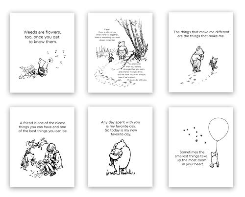 Winnie The Pooh Classic Art Prints | Set of 6 (8 x 10 inches) UNFRAMED Wall Art Prints | Perfect for a Child's Bedroom or Playroom