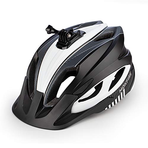 MOKFIRE Mountain Bike Helmet with Camera Mount & Detachable Sun Visor MTB Road Bicycle Helmets Adjustable Cycling Helmet Certificated by CPSC, Sizes for Adults Men/Women - Matte Black White