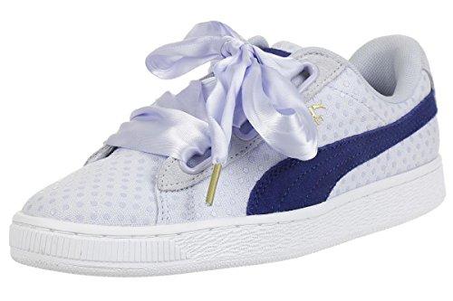 PUMA - Zapatillas de Serraje de Mujer en Color Azul Celeste con Lazo a Tono. Modelo s Basket Heart Denim