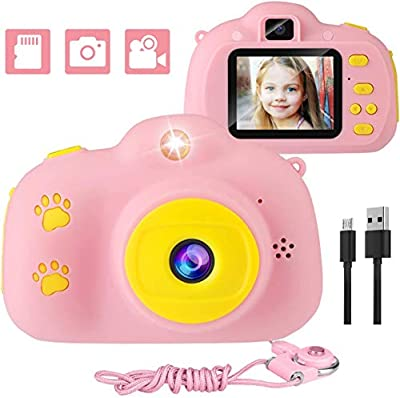 Kids Camera, 1080p Selfie Digital Kids Camera for Girl with 32GB SD Card Rechargeable Battery Children Video Camera Birthday/Christmas/New Year Toy Gifts for 5 6 7 8 9 10 Year Old (Pink-1) by Trofoty