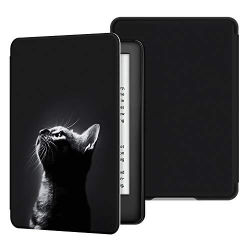 Ayotu Custodia in Pelle per Kindle Paperwhite-Custodia impermeabile dipinta per svegliarsi/dormire automaticamente(solo per Kindle Paperwhite 10ªgen-modello 2018),Modello di gatto