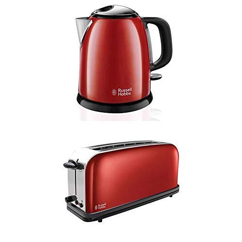 Russell Hobbs Set Petit Déjeuner Bouilloire et Grille Pain Toaster Baguette Colours Plus Rouge - 24992-70 et 21391-56