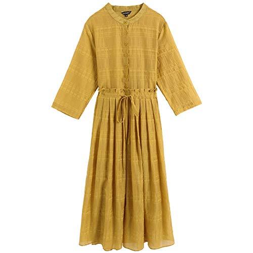 BINGQZ Cocktail Jurken Lente pure ramie gele jurk vrouwelijke katoen en linnen temperament lange rok was dun groot formaat populaire rok