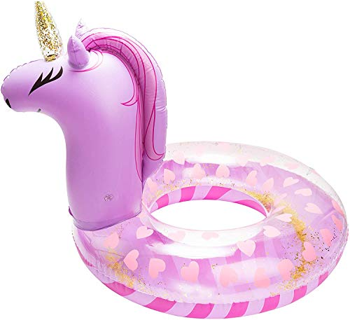BeYumi Inflatable Unicorn Pool Float Inflation Swimming Ring Swimming Floaty Pool Toy with Sequins Unicorn Pool Party Water Fun Summer Outdoor Beach Water Lounge Inflatable Raft for Adult Purple