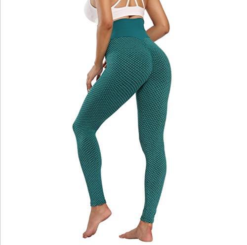 GUANJIAN Leggings De CompresióN De Fitness para Mujer,Cintura Alta Volantes GlúTeos Gimnasio Correr Pantalones De Yoga Ropa, Deportiva para Control del Vientre Legging Jacquard M Verde