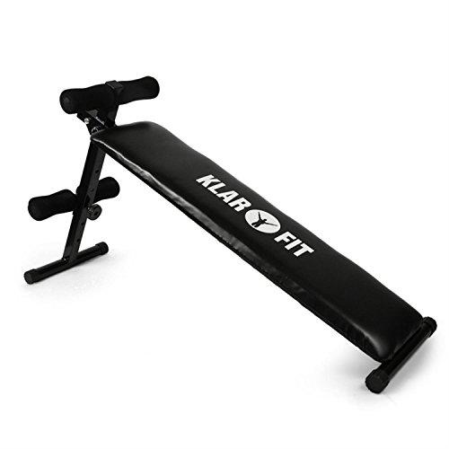 KLARFIT FIT-BT5 Banco de musculación. Variedad de ejercicios, especial mente para abdominales (Elementos ajustables, diferentes niveles, peso máx. 160kg) Negro
