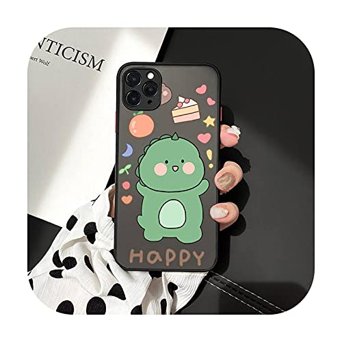 Cute Cartoon Animal Dinosaur Pareja Teléfono Carcasas Mate Transparente Para iphone 7 8 11 12 más mini x xs xr pro max cover-a9-iPhone11