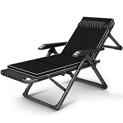 Chaise Longue Chaise de Bureau Chaise Longue pour la Maison Lit d'accompagnement Disponible dans Toutes Les Saisons Chaise Pliante Poids du Chargement 200kg Fauteuils et Chaises (Color : Black a)