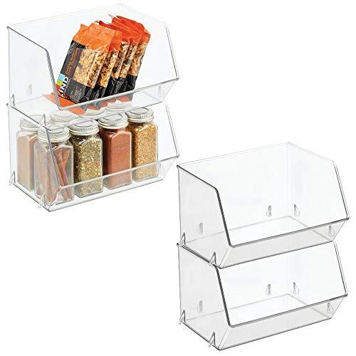 mDesign Aufbewahrungsbox für Lebensmittel – Küchen Ablage mit offener Vorderseite für Kühlschrank, Schrankfach oder Gefriertruhe – Kühlschrankbox aus BPA-freiem Kunststoff – 4er-Set – durchsichtig
