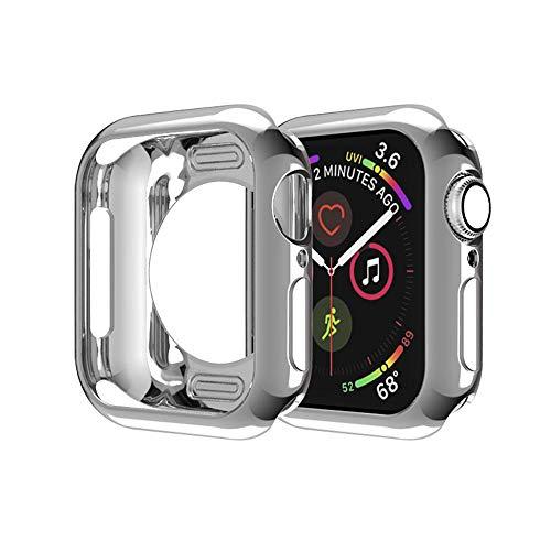 MroTech Fodral kompatibelt med Apple Watch serie 3 2 1 fodral 38 mm iWatch stötfångare fodral flexibel TPU ultratunn smal passform skyddande ram fodral för iWatch 38 mm smartwatch tillbehör-grå