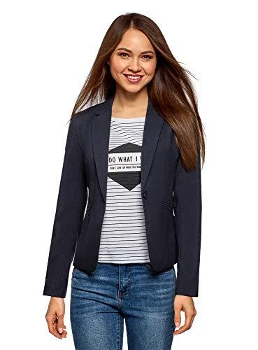 oodji Ultra Damen Taillierter Blazer Basic, Blau, DE 40 / EU 42 / L