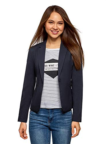 oodji Ultra Donna Blazer Basic Aderente, Blu, IT 48 / EU 44...