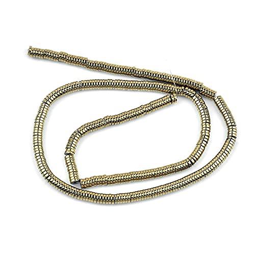 Perlas redondas planas de hematita, cuentas espaciadoras redondas de metal dorado, cuentas planas redondas heishi, fabricación de joyas, pulseras y bricolaje.