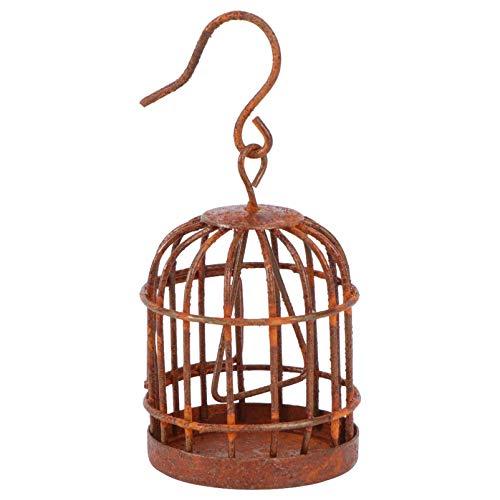 YARNOW Mini Vogelkäfig Deko Vintage Eisen Kerzenhalter Metall Gartendeko Weihnachten Miniatur Ornamente Hängende Laterne Feengarten Zubehör für Sukkulenten Blumentopf Shabby Dekoration