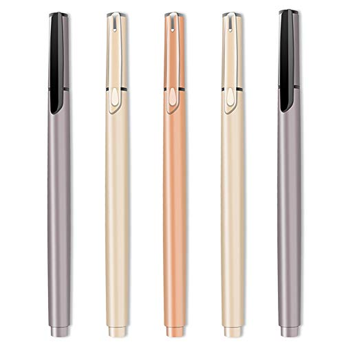 Roller Ball Pens, Gel Ink Ballpoint Pen with High Density Material Barrel pens fine point, Smooth Writing Rollerball Pen for Business, School and office Use, Black Ink, 0.5mm Fine Point – 5Pack