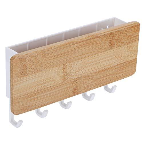 Asixxsix Organizador de la suspensión de Llaves, Elegante Caja de Almacenamiento de Montaje en Pared, bambú + ABS para Ministerio del Interior
