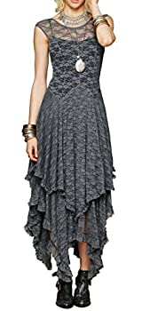 R.Vivimos Womens Sleeveless Backless Asymmetrical Layered Lace Long Dress with Slip Two Pieces  Medium Grey