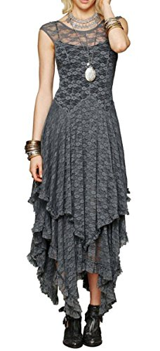 R.Vivimos Womens Sleeveless Backless Asymmetrical Layered Lace Long Dress with Slip Two Pieces (Large, Grey)