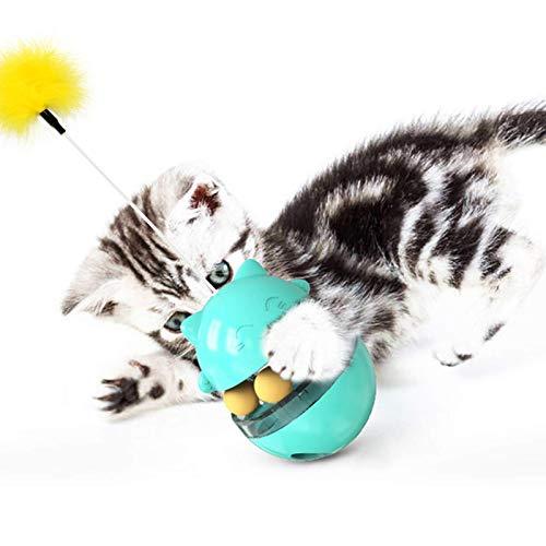 AVNICUD Spielzeug Katzen, Interaktives Spielzeug für Katzen, multifunktionales Katzenfutterspielzeug, Katzenspielzeug mit Verstellbare Öffnung/Feder/IQ Bälle für Training Langsam Fütterung