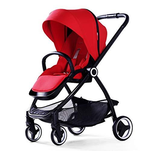 BLWX - Chariot de Poussette bébé bi-directionnel Haute Paysage Parapluie Voiture Pliante Portable Chariot pour Enfants Poussette (Couleur : Red)